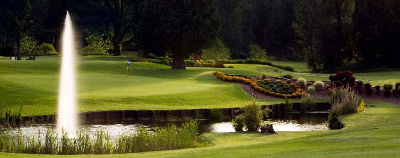 A hole at Lewis River Golf Course is pictured from across a pond