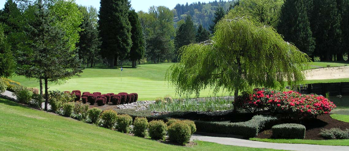 A hole at the Lewis River Golf Course is pictured among beautiful shrubery